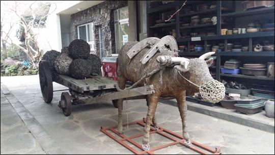 방림원에 전시되어 있는 우마차와 소 조형물.ⓒ조남대
