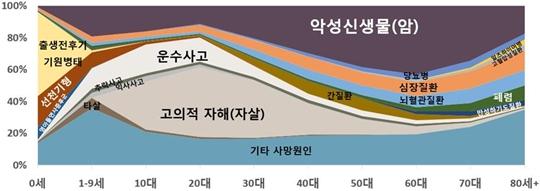 2016년 연령별 주요 사망원인 구성비 그래프 ⓒ통계청