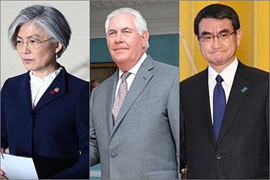 왼쪽부터 강경화 외교부 장관, 렉스 틸러슨 미국 국무장관, 고노 다로 일본 외무상 ⓒ데일리안·연합뉴스