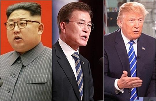김정은 북한 노동당 위원장, 문재인 대통령, 도널드 트럼프 미국 대통령(왼쪽부터) ⓒ데일리안, 게티이미지코리아