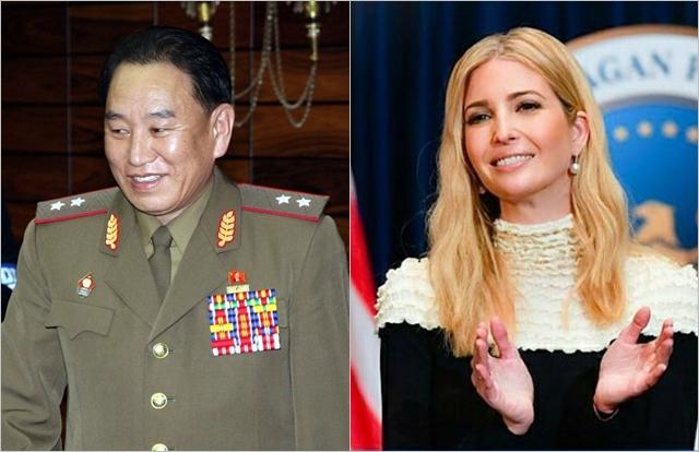 2006년 남북장성급회담 당시 김영철(왼쪽) 북한 노동당 통일전선부장, 이방카 트럼프 보좌관. ⓒ연합뉴스·이방카 트럼프 트위터 캡처