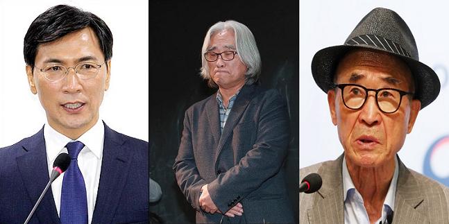 왼쪽부터 안희정 전 충남지사, 이윤택 연출가, 고은 시인 ⓒ데일리안·연합뉴스
