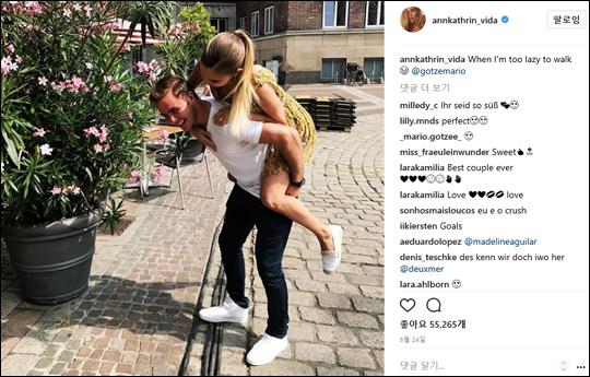 마리오 괴체와 여자친구. 앤캐서린 비다 인스타그램 캡처