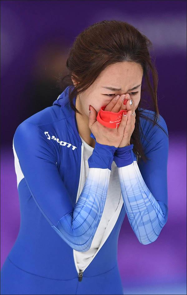이상화 눈물. ⓒ2018평창사진공동취재단