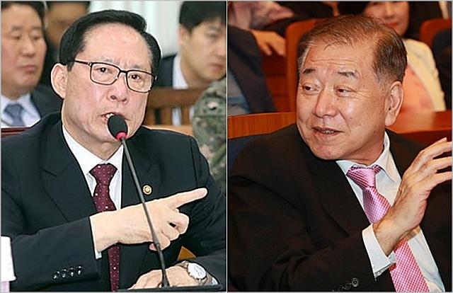 송명무 국방부장관(왼쪽), 문정인 대통령 외교안보 특보 ⓒ데일리안
