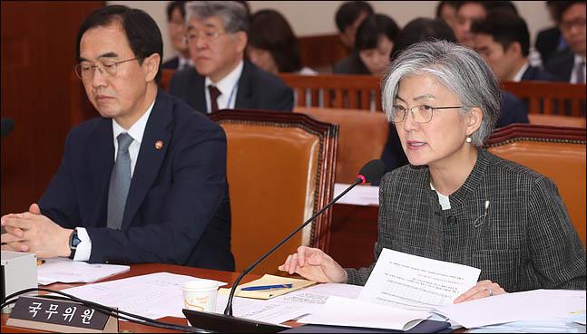 강경화 외교부장관이 17일 오후 열린 국회 외교통일위원회 전체회의에서 의원들의 질의에 답변하고 있다