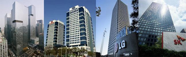 주요 대기업 그룹 사옥 전경. 왼쪽부터 삼성서초사옥, 현대차그룹 양재사옥, 여의도 LG트윈타워, 종로 SK서린빌딩.ⓒ각 사