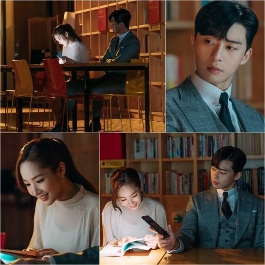 '김비서가 왜 그럴까' 박서준-박민영의 '도서관 데이트'가 포착돼 설렘지수를 폭발시키고 있다. ⓒ tvN