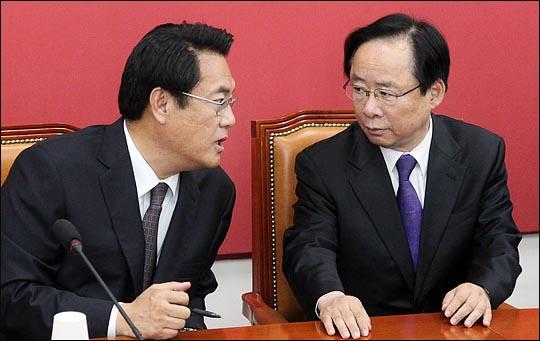 12일 열릴 자유한국당 국회부의장 경선에 출사표를 던진 이주영 의원(사진 오른쪽)과 정진석 의원(왼쪽, 자료사진). ⓒ데일리안 박항구 기자
