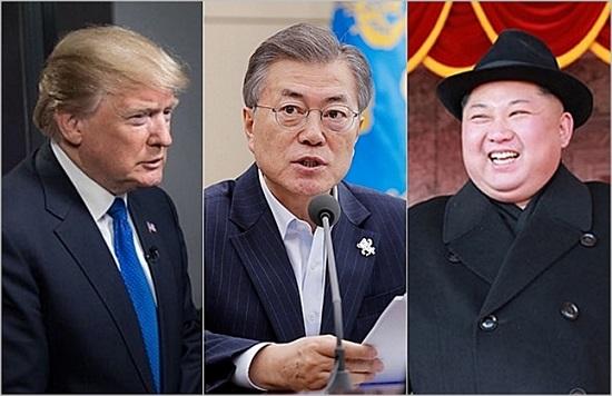 (왼쪽부터) 도널드 트럼프 미국 대통령, 문재인 대통령, 김정은 북한 국무위원장. ⓒ데일리안