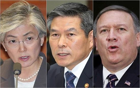 (왼쪽부터) 강경화 외교부장관, 정경두 국방부장관, 마이크 폼페이오 미국 국무장관. ⓒ데일리안 홍금표 기자, BBC