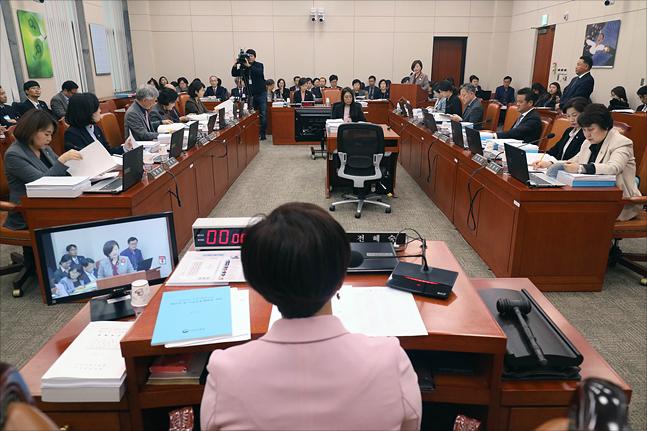8일 국회에서 국회 여성가족위원회 2019년도 예산안 관련 전체회의가 열리고 있다. ⓒ데일리안 홍금표 기자