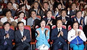 [지방선거]환호성 터진 민주당